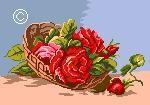 Предпросмотр - Схема вышивки Две розы на чС'рном - Схемы автора.